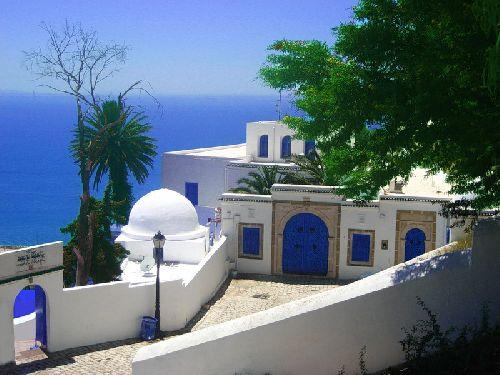 Сиди-бу-Саид — колоритная деревенька, расположенная на возвышенности в 17 километрах от столицы Туниса, а у ее подножия  плещутся лазурные волны Карфагенского залива